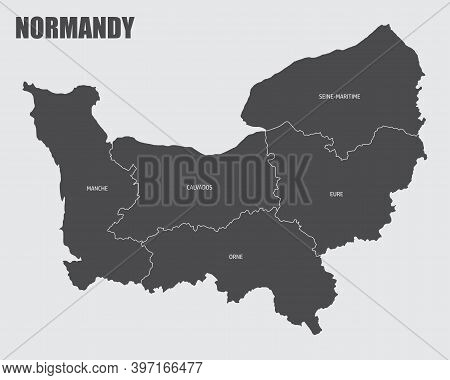 The Normandy Region Map Divided In Provinces With Labels
