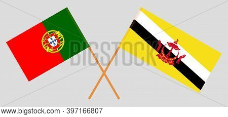 Crossed Flags Of Brunei And Portugal. Official Colors. Correct Proportion. Vector Illustration