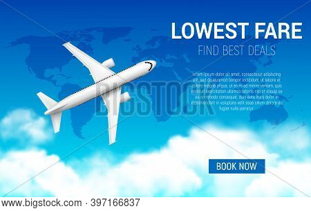 Lowest Fare Vector Poster With Realistic Airplane. Cheap Flight Business Promotion, Airline Promo Of