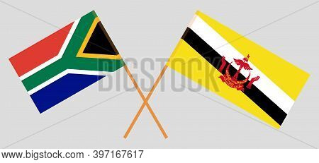 Crossed Flags Of Brunei And The Rsa. Official Colors. Correct Proportion. Vector Illustration