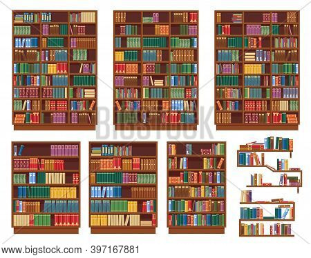 Bookcase, Bookshelf With Books, Library Shelves, Vector Isolated Rack Icons. Wooden Bookcases Or Boo