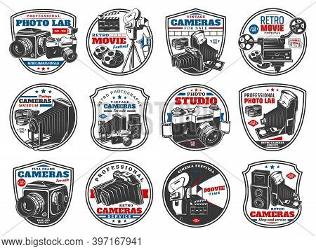 Retro Cameras For Photo And Video Vector Icons. Vintage Photographing Optical Technics Equipment Sto