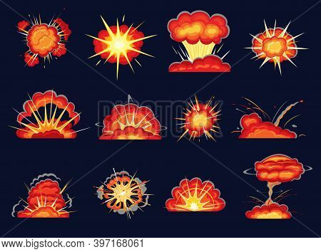 Explosion Blasts Cartoon Vector Set With Bomb Burst And Comic Boom Effects. Bomb Bangs With Fire And