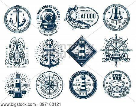 Nautical Anchor, Ship Helm, Lighthouse And Fish, Vector Marine Wave Icons Or T-shirt Prints. Ocean S