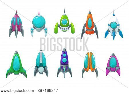 Rocket, Space Ship, Spaceship And Shuttle Cartoon Icons Set Of Vector Astronaut Spacecraft, Space Te