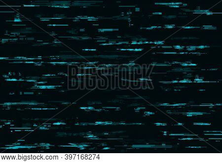 Blue Glitch Vector Background With Digital Pixel Noise Texture. Tv Or Computer Screen Pattern With V