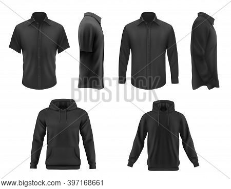 Men Clothes Vector Black Tshirt, Hoodie And Shirt With Long And Short Sleeves Apparel Mockup. Realis