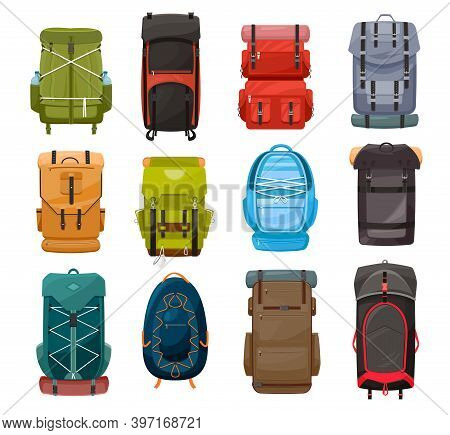 Backpacks, Vector Trekking Camp Back Pack Travel Bags With Lacing For Tourist Equipment, Hiking, Cam
