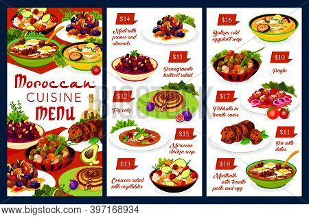 Moroccan Food Vector Menu Template Fig Cake, Chicken Soup, Couscous Salad With Vegetables. Balkan Co
