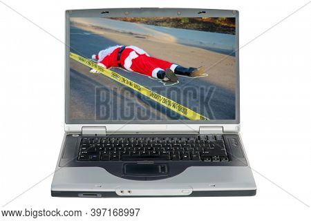 Santa Claus Dead. Santa lays dead in the street with a Police Chalk Line and Yellow Do Not Cross Police Tape. Santa Claus is victim to violence. Computer Screen with Bad News.