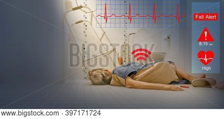 Medical Fall Accident Detection Is Alert That Elderly Woman Falling In Bathroom Because Slippery Sur