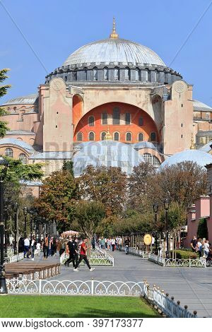 Istanbul, Turkey - October 05, 2020. View Of The Hagia Sophia Grand Mosque On A Sunny Autumn Day. Su
