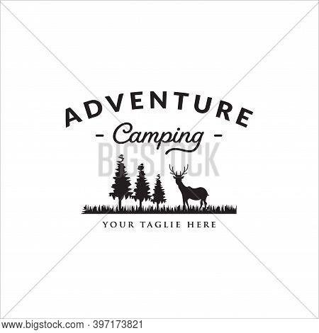 Vintage Wilderness Adventure Camping Logo, Camping Adventure Logo Vector Design