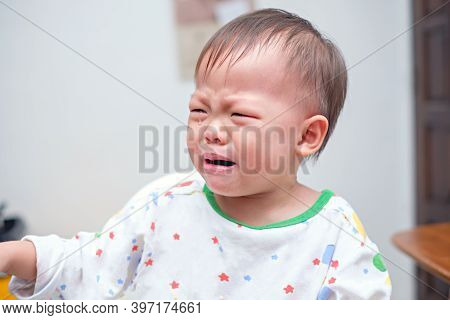 Cute Upset Stress Sad Unhappy Little Asian 2 Years Old Toddler Baby Boy Child Crying, Toddler Having