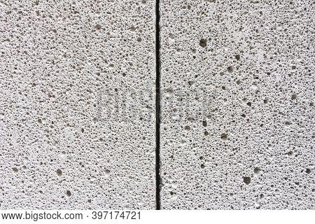 Pattern Of Pores On Lightweight Concrete Blocks Texture Background