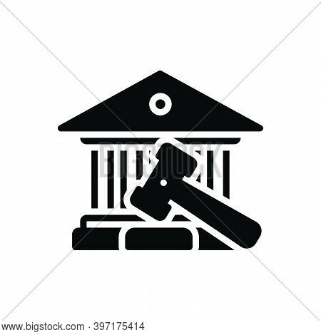 Black Solid Icon For Court Hammer Court-house Governmental Authority Judge Magistrate Syllogism Rect