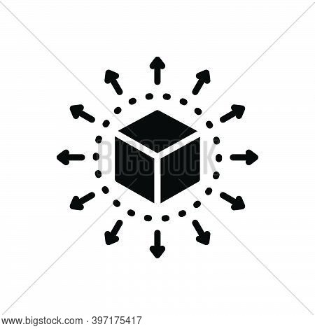 Black Solid Icon For Distribute Distribution Direction Container Exchange Content Share Delivery Spr