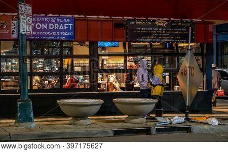 Denver, Colorado - November 27, 2020: Facade Of Sam\'s Restaurant In Downtown Denver At Winter Night