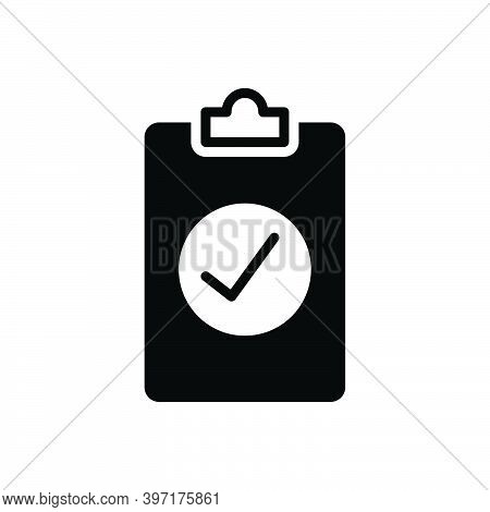 Black Solid Icon For Assess Compliance Checkmark Review Result Report Document Paper Statement Resea