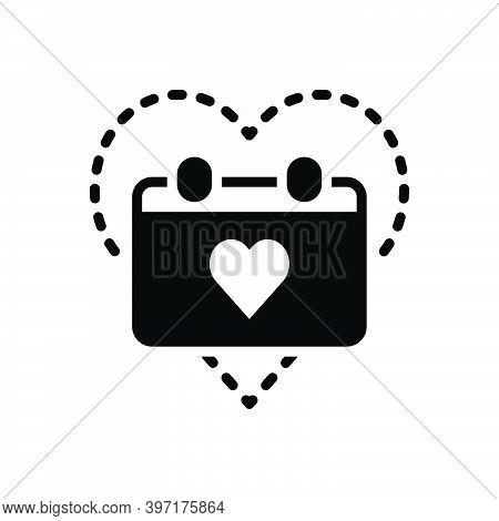 Black Solid Icon For Anniversary Commemoration Jubilee Ceremony Festival Gift Love