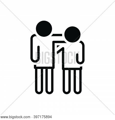 Black Solid Icon For Cousin Relative Relation Family Nephew Friendship Relationship Together