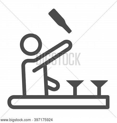 Bartender Throws Up A Bottle Of Drink Line Icon, Bartenders Day Concept, Bartender Juggles Drinks Si