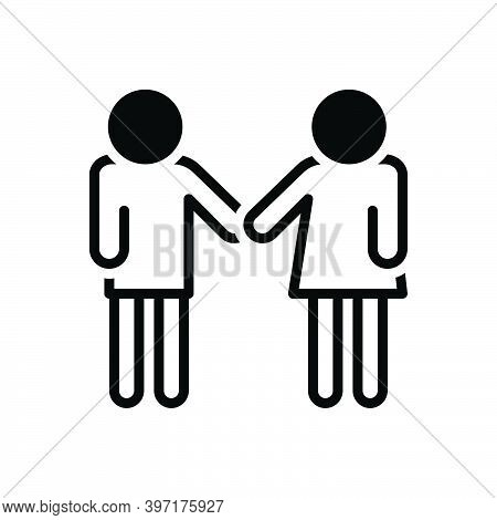 Black Solid Icon For Friendly Affable Folksy Chummy Neighbourly Downstage Hail-fellow Buddy Together