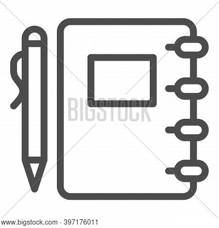 Notepad And Pen Line Icon, School Concept, Spiral Notebook With Pen Sign On White Background, Pad Fo
