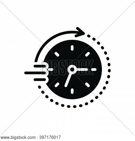 Black Solid Icon For Soon Time Clock Arriving Quickly Speedily Facilely Hastily In-a-hurry Swiftly P