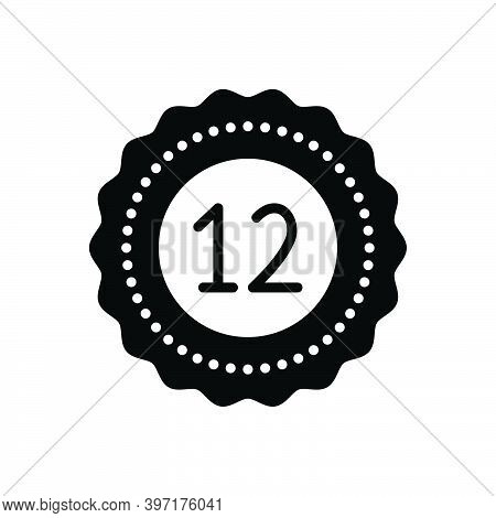 Black Solid Icon For Twelve Fulfillment Digit Mathematical Calculated Dozen Zodiac Numerical Number