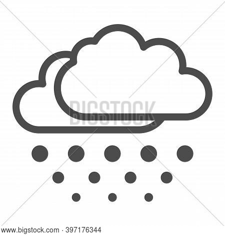 Snow Falls From Clouds Line Icon, World Snowboard Day Concept, Snowy Weather Sign On White Backgroun