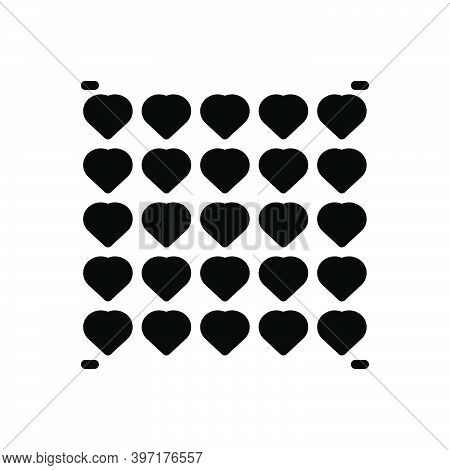 Black Solid Icon For Much Plenty Overmuch More More-than Pattern Heart Graphic Decorative
