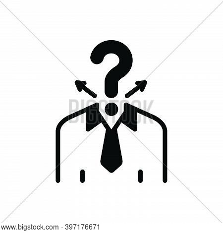 Black Solid Icon For Confusion Decision Doubt Question Ask Unknown Brain-confusion Problem Concept