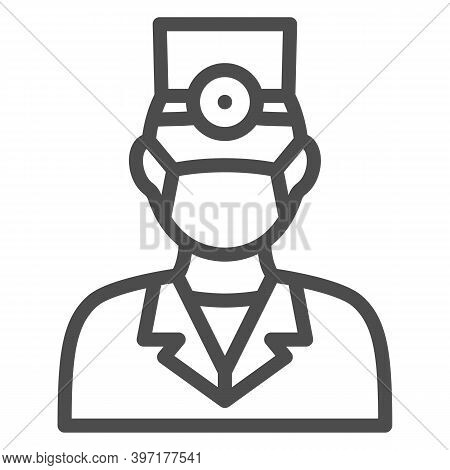 Dentist Line Icon, International Dentist Day Concept, Doctor In Face Mask Sign On White Background,