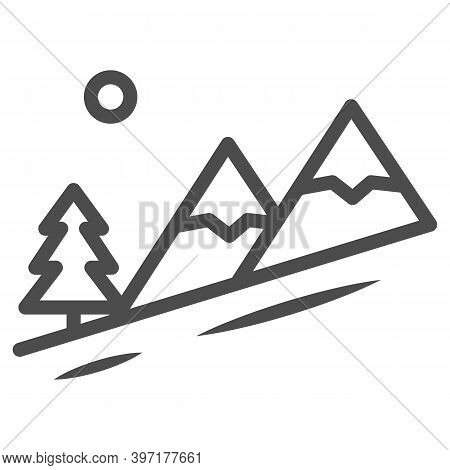 Winter Mountain Landscape Line Icon, World Snowboard Day Concept, Descent From The Mountain Sign On