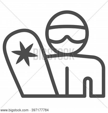 Snowboarder With Snowboard Line Icon, Winter Sports Concept, Man With Snowboard Sign On White Backgr