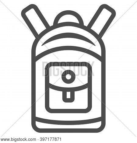 Backpack Line Icon, World Snowboard Day Concept, Sport Rucksack Sign On White Background, Unisex Tou