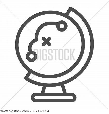 Globe With Flight Path Line Icon, School Concept, Equipment For Geography Sign On White Background,