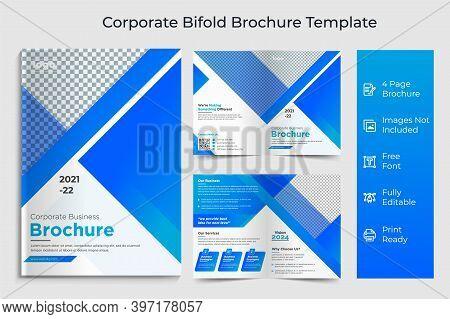 Business Bi-fold Brochure Template, Corporate & Business Concept Design, Business Bi Fold Brochure D
