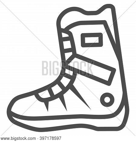 Snowboarder Boot Line Icon, World Snowboard Day Concept, Sport Shoes Sign On White Background, Boot