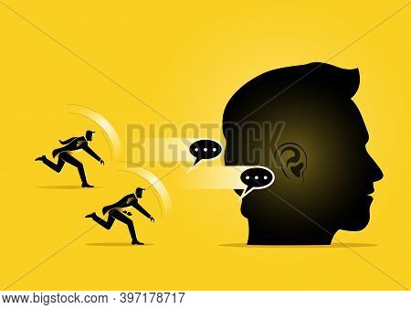 An Illustration Of Business Man Throwing Speeches To Giant Head