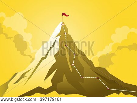 An Illustration Of A Mountain With Route Path To Mountain Peak, Business Journey And Planning Concep