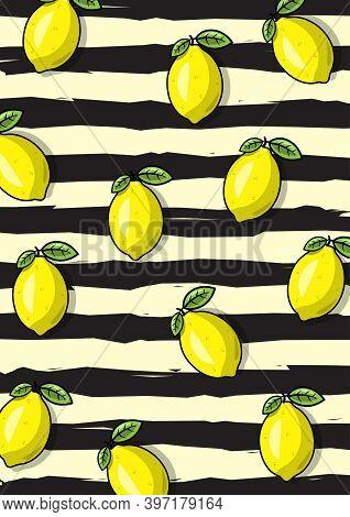 An Illustration Of Lemon Fruit Pattern With Black Stripe Background