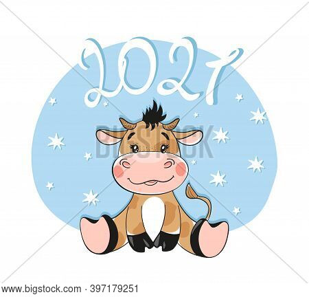 New Year And Christmas 2021, Card With A Bull. Flat Cartoon Design. Vector Illustration Isolated On