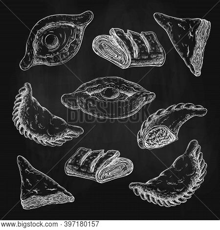 Drawn Puff Pastries Sketch Set Isolated. Baking, Pastries With Cheese Or Meat Stuffing. Turnovers, K