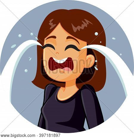 Sad Desperate Young Woman Crying Vector Illustration