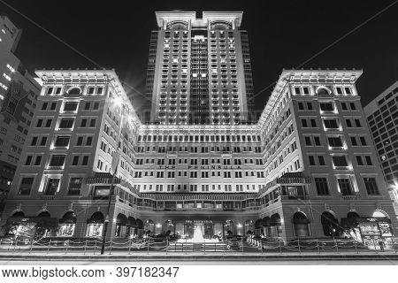 Hong Kong, China - April 28, 2020 : The Peninsula, A Famous Colonial Style Luxury Hotel In Kowloon.