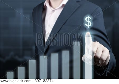 Development And Growth Concept. Businessman Plan Growth And Increase Of Positive Indicators In His B