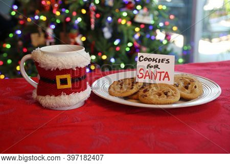 Coco and Cookies for Santa Claus. Fresh Baked Cookies and Hot Chocolate with Marshmallows left on a table for Santa Claus. A gift from a Happy Boy or Girl to Santa on Christmas Eve.
