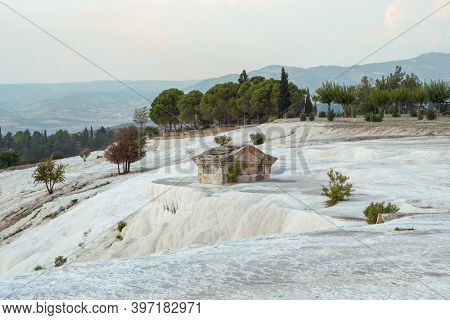 Ancient greek tomb in Ancient City of Hierapolis in Pamukkale in Turkey, a UNESCO World Heritage Site.